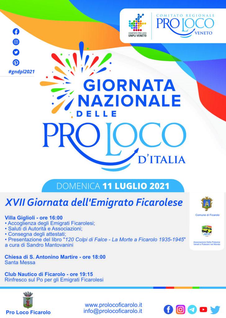 Giornata Nazionale delle Pro Loco d'Italia 2021 con gli Emigrati Ficarolesi 1
